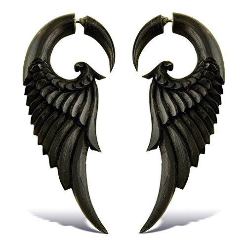 Fake Plugs Earrings Hand Carved Horn Forest Wings Lrg ()