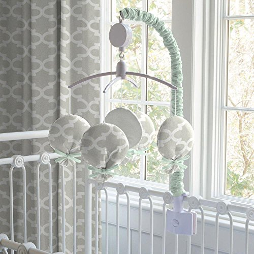Carousel Designs French Gray and Mint Quatrefoil Mobile by Carousel Designs