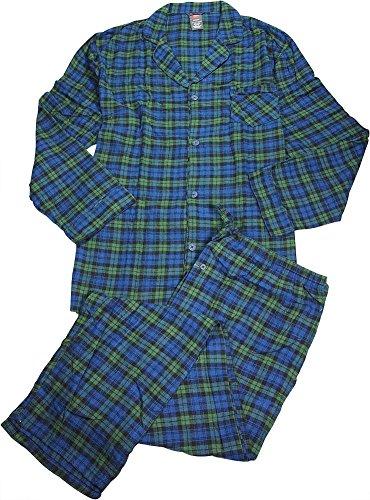 Hanes Big and Tall Flannel Plaid Pajama (Green 3X) (Tall Mens Pajamas)