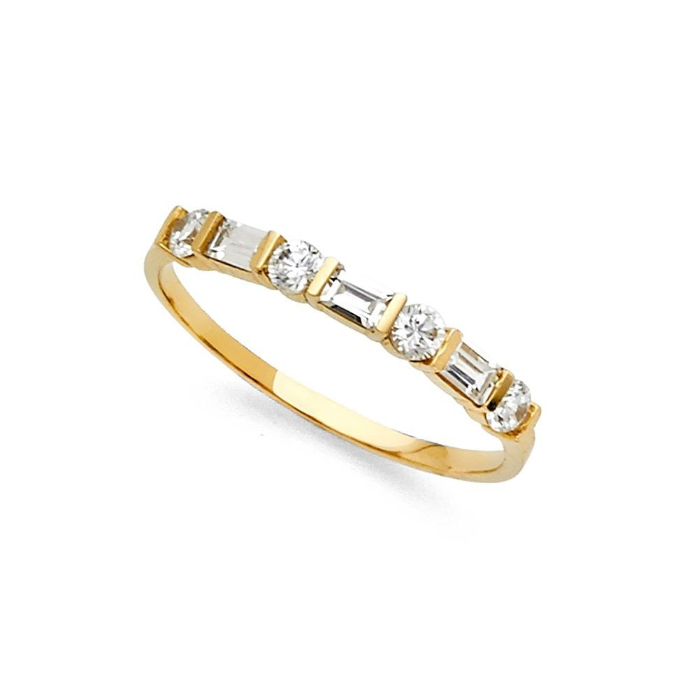 Amazon 14k Yellow Gold Cz Wedding Band Anniversary Round Baguette Ring Bridal Channel Stones Jewelry: Cz Wedding Band Ring At Reisefeber.org