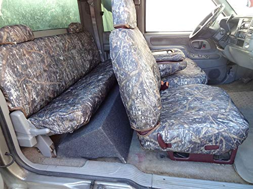 Custom Chevy Truck Seats - Durafit Seat Covers 1995-2000 Chevy Silverado, and GMC Sierra Truck Xcab Front/Rear Seat Covers for 60/40 Split Seat with Opening Center Console. Conceal Camo Endura