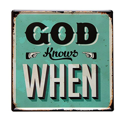 Lares Domi Retro Style Wall Décor Vintage Finish God Knows When Tin Sign 12'' X 12'' (Green Tin Sign)
