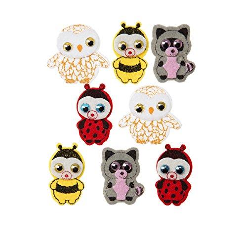 Darice, 8 Piece, Ty Beanie Boo Fuzzy Felt Stickers, Woodland Theme -