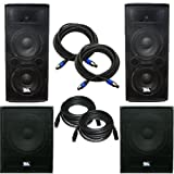 Seismic Audio - AftershockPKG5 - Pair of Dual 12'' PA Speakers, Pair of Powered 18'' Subwoofers with Speaker and Microphone Cables - PA/DJ Package