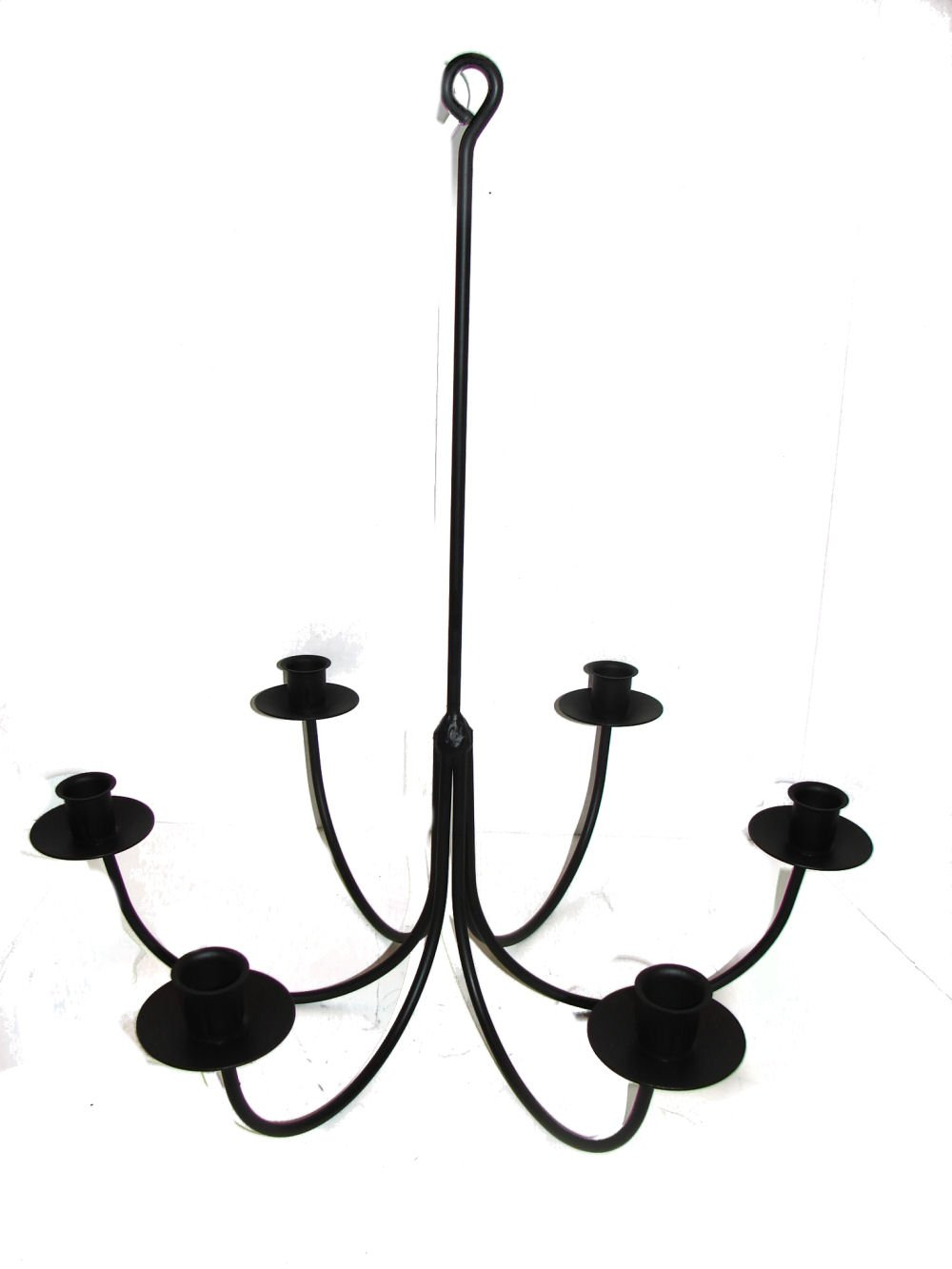 Wrought Iron 6 Arm Candle Chandelier by Hand Crafted & American Made!