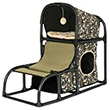 Hollypet Detachable Cat Activity Tree Bed Scratching Post Toys Pet Furniture Scratcher Play House Pet Bed Condo for Kittens Green Print 27.6 Inch High