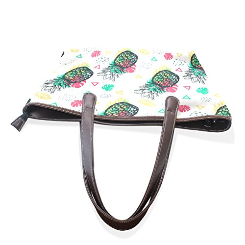 Handle Leaves Pineapple Women Ladies Patern Top Plam Shoulder Large Bags Tropical Handbag Tote Bennigiry And qpaICTwq