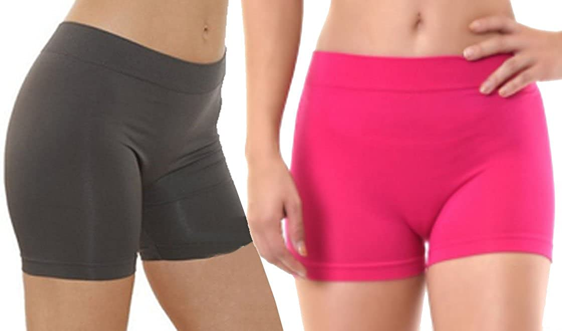 2 Pack Women's Seamless Stretch Yoga Exercise Shorts 2 Pack: Brown & Orange)