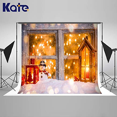 Kate 7×5ft Christmas Backdrop Window with Snowman Photo Background Cedar Lights Dots Xmas Photo Studio Booth for Happy New Year Winter Christmas Photography Decoration ()