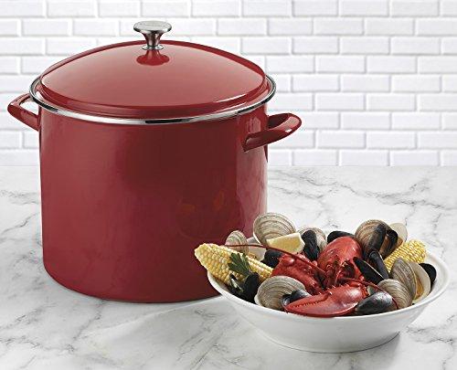 20 quart stock pot red - 5
