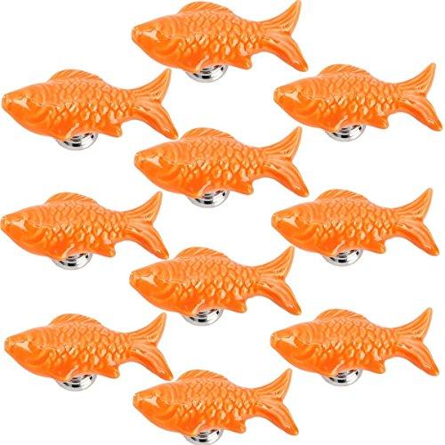 Knobs Fish Drawer (Yahead 10pcs Ceramic Door Knobs Cute Fish Shape Pulls Handle For Door Cabinet Closet Drawer Cupboard Dresser Wardrobe Furniture Kitchen Orange)