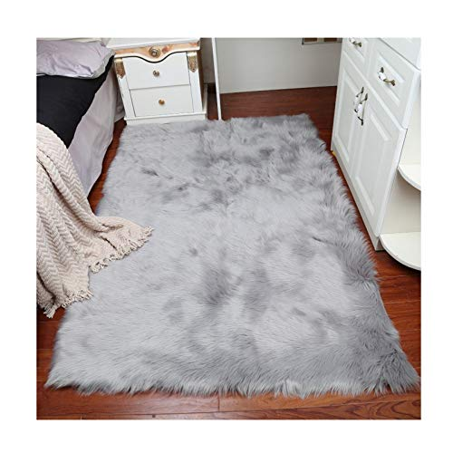 Elhouse Home Decor Rectangle Rugs Faux Fur Sheepskin Area Rug Shaggy Carpet Fluffy Rug for Baby Bedroom,2ftx5ft,Grey