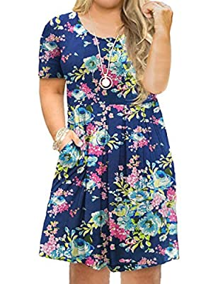 Tralilbee Women's Plus Size Short Sleeve Dress Casual Pleated Swing Dresses with Pockets