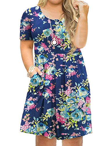 Tralilbee Women's Plus Size Short Sleeve Floral Loose Casual Dresses with Pockets (1X (US 14W-16W), 02) (Summer Shirt Dresses For Women)