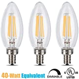 IMP Life Dimmable LED Filament Bulbs 3.5W (40W Equivalent), B11 Chandelier Bulb, Wall Sconce Bulb, E12 Candelabra Base Lamp 2700 Kelvin Warm White 350 Lumens Torpedo Shape 30000 Hours 3 PACK UL Listed