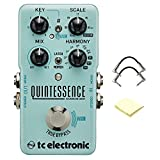 TC Electronic Quintessence Harmonizer Advanced Dual-Voiced Effects Pedal for Guitar with 2 R-Angle Patch and Zorro Sounds Polishing Cloth