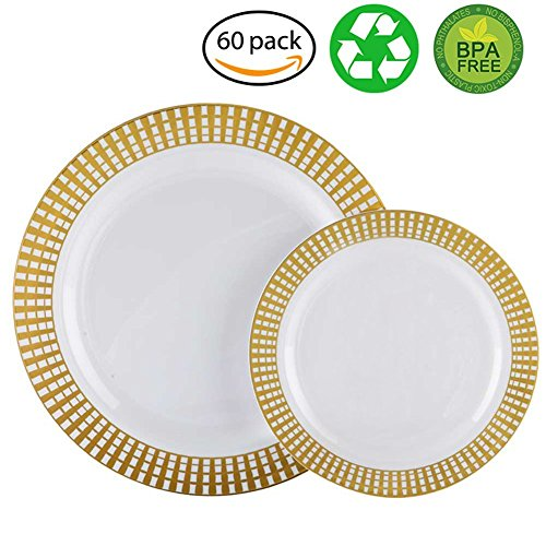 60PCS Heavyweight White with Gold Rim Wedding Party Plastic Plates,Disposable Plastic Plates,30-10.25inch Dinner Plates and 30-7.5inch Salad Plates -WDF (White/Gold (Princess Round Serving Plate)