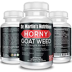 Super Strength 1000mg Horny Goat Weed 120 Capsules with Maca Arginine & Ginseng - Naturally Boost Your Sexual Health, Libido, Stamina, Endurance, Testosterone & Energy for Men & Women