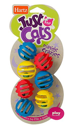 Hartz Just For Cats Midnight Crazies Cat Toy Balls - Assorted