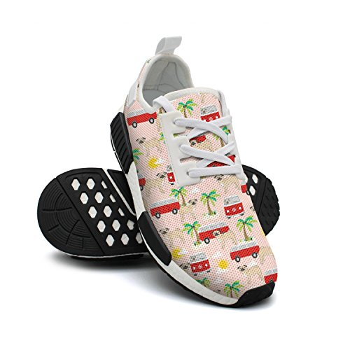 Dog Shoes Beach Mesh Fashion Pug FAAERD Palm with Breathable Lightweight Simple Sneaker Womens Trees Bus Sneakers Wq4IIZ