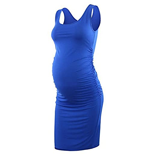 Cinnamou Falda de maternidad de color sólido sin mangas con cuello en V para mujer Vestidos embarazadas ropa premamá verano: Amazon.es: Ropa y accesorios