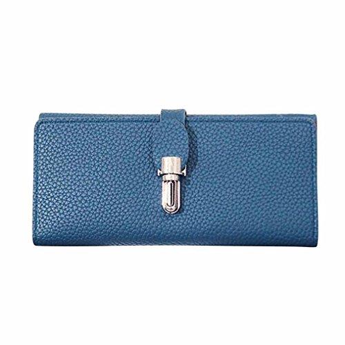 Kimloog PU Leather Lock Buckle Women Coin Purse Long Wallet Solid Card Holders (blue)