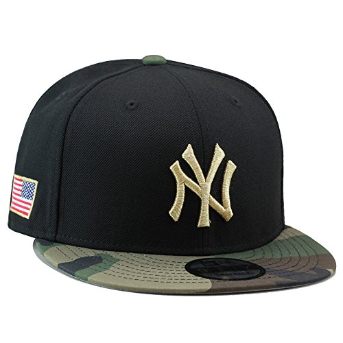 New Era 9fifty New York Yankees Snapback Hat Cap Black/Camo/Gold/USA Flag -