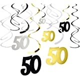 30-Count Swirl Decorations - Happy Birthday Party Supplies, 50th Birthday Party Streamers, 50th Anniversary Hanging Whirl Decorations, Assorted Colors - Hanging Length: 37 inches