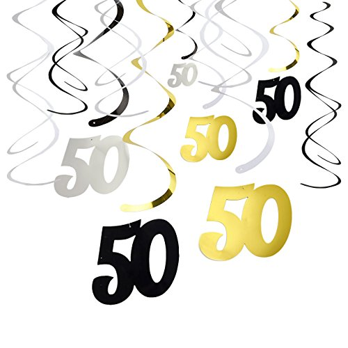 (30-Count Swirl Decorations - Happy Birthday Party Supplies, 50th Birthday Party Streamers, 50th Anniversary Hanging Whirl Decorations, Assorted Colors - Hanging Length: 37 inches)