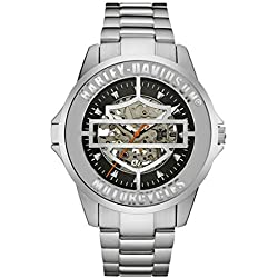 Harley-Davidson Mens Bar & Shield Cover Mechanical Watch, Stainless Steel 76A154