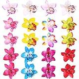 Hestya 20 Pieces Silk Orchid Flower Hair Clip Bohemian Hair Accessories Women Girls Wedding Beach Birthday Hawaiian Party