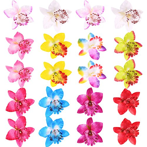 Shappy 20 Pieces Silk Orchid Flower Hair Clip Bohemian Hair Accessories for Women Girls Wedding Beach Birthday Hawaiian Party