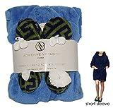 Adrienne Vittadini Women's Soft Plush Comfy House Kimono Bath Robe & Sherpa Printed Ballerina Slippers Set