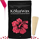 Depilatory Wax Kit - Hard Wax Beans for Painless Hair Removal (large 1 lb bag with Coconut oil) - Smooth Facial and Body Hair Depilatory Pearl Beads for Wax Warmer Kit, Brazilian Bikini Waxing, KōluaWax for Women and Men