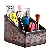 Remote Controller Holder PU Leather Desk Organizer; office supplies Storage Box; TV Guide/phone/CD Organizer/office caddy/pen Holder (Vintage)