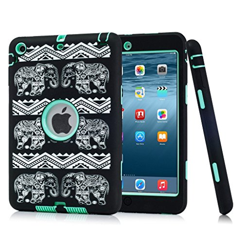 iPad mini 3 / 2 / 1 Case, Hocase Double Layer Rugged Hard Rubber Protective Case Cover for Apple iPad mini 1 / 2 / 3 - Black Elephant / Aqua (Ipad Mini Case Generation 1)