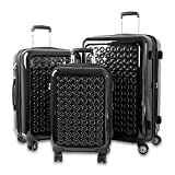 3 Piece Solid Geometric Polka Dot Theme Rolling Lightweight Expandable Carry On Luggage Set, Modern Geo Circles Theme, Hardside, Hardshell, Fashionable, Multi Compartment, Hard Travel Suitcases, Black