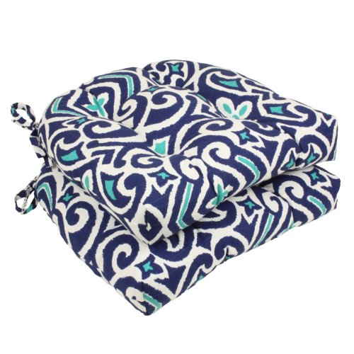 Pad Chair Garden (Pillow Perfect Damask Reversible Chair Pad, Set of 2, Blue/White)