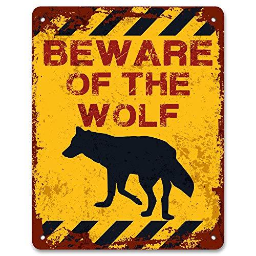 - Stevenca Metal Tin Sign Beware of The Wolf Vintage Metal Warning Sign Aluminum Road Sign 7.8x11.8 Inch