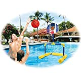 New & Improved! Multi-Sport Floating Reinforced Basketball and Soccer Goal Pool Set, with 2 Nets, 3 Small Inflatable Balls & Pump, Tons of Fun, by Dimple