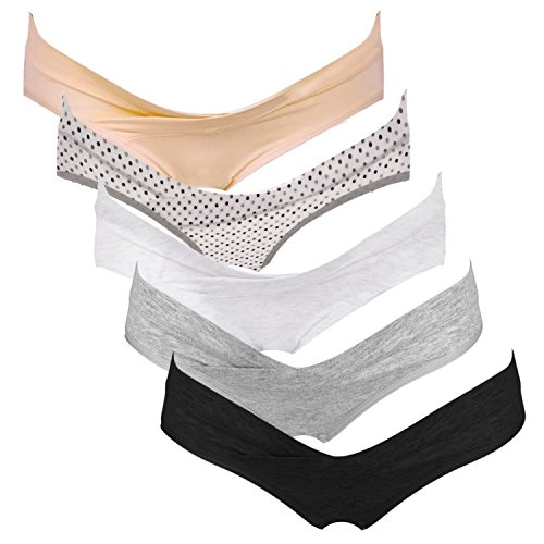 Intimate Portal Women Under The Bump Maternity Panties Pregnancy Postpartum Underwear 5 Pack Neutral Colors Large