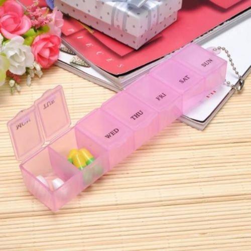 DORABO 7 Day Pill Storage Organizer|Pill Container Case|Pill Box Dispenser Holder|Medicine Tablet Box Dispenser Organizer Case with 7 Compartments Dosage tracking Keeper(Pink)