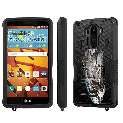 LG [G Stylo] Tough Case [SlickCandy] [Black/Black] Hybrid Combat [Kick Stand] [Shock Proof] Phone Case - [Millenium Falcon] for LG [G Stylo] [LS770 H631] -  SlickCandy for LG [G Stylo], P-LGLS770-1E1-BKBK-VRI-P064