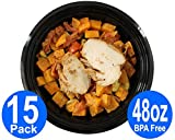 [15pk] Large Round Bento Lunch Box Set - Best Meal Prep BPA Free Plastic Containers and Foodsavers - Microwavable and Dish Washer Safe (15 pack, 48 oz)