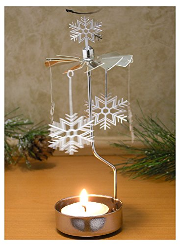 Spinning Snowflake Candle Holder - Silver Laser Cut Snowflake Charms Turn Around When the Candle is lit - Scandinavian Design Candle (Snowflake Candle Holders)