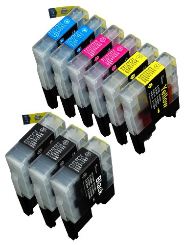 9 Pack Compatible with Brother LC-71 , LC-75 3 Black, 2 C...
