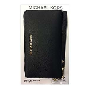 Michael Kors Saffiano Leather Large Multi-function Case for Apple iPhone 6s / 6s Plus 7 / 7 Plus- Black