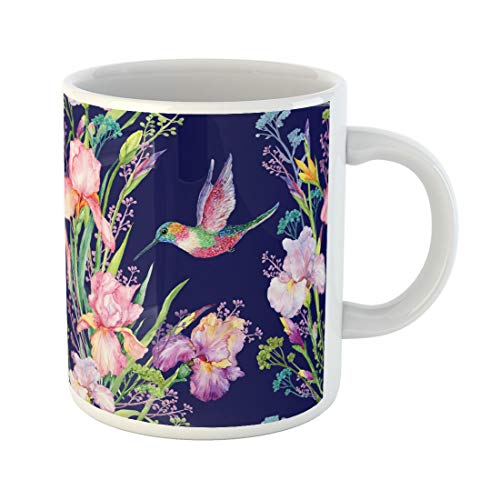 Semtomn Funny Coffee Mug Green Irises Flowers and Small Hummingbird Exotic Watercolor Blue 11 Oz Ceramic Coffee Mugs Tea Cup Best Gift Or Souvenir
