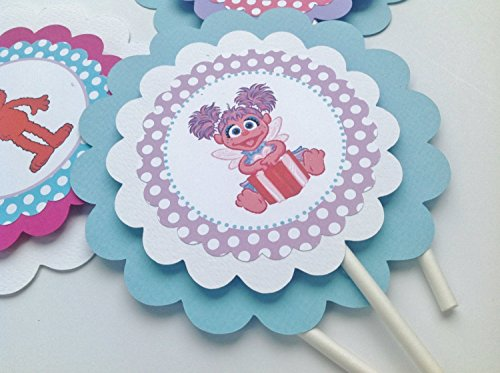 3 - Centerpieces or Cake Toppers - Abby Cadabby & Elmo Inspired Happy Birthday Collection - Baby Blue Polka Dots, Hot Pink Chevron & Lavender, Red and White Accents - Party Packs Available (Abby Cadabby Party City)