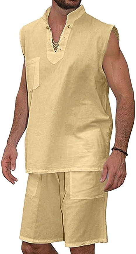 Venta de liquidación. Traje de manga corta para hombre, camisa hippie + pantalones cortos, 2 piezas, playera, playera, blusa de playa, tanques de África: Amazon.es: Juguetes y juegos
